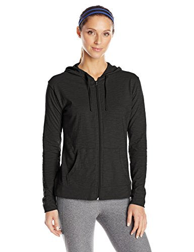 Hanes Women's Jersey Full Zip Hoodie, Black, Large