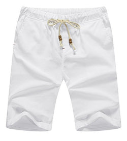 ZYFAMILY Men's Linen Casual Classic Fit Short Summer Beach Shorts (White, S(W 31-33))