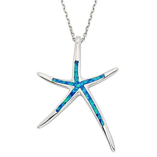 Beaux Bijoux Sterling Silver Created Opal Starfish Pendant w/18 Chain