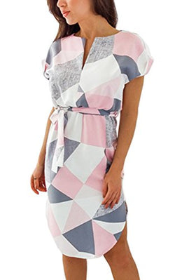 ECOWISH Womens Dresses Summer Casual V-Neck Floral Print Geometric Pattern Belted Dress Pink M