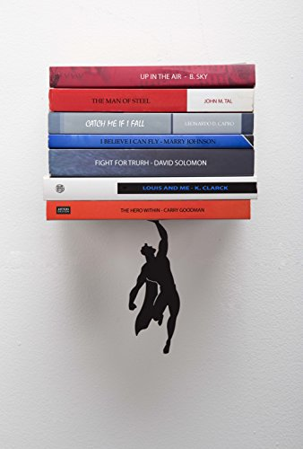 ARTORI Design Supershelf - Black Metal Superhero Floating Bookshelf, Concealed, Hidden Shelf, Unique Book Shelves, Gifts for Geeks, Gifts for Book Lovers, Cool Book Stacker Stopper