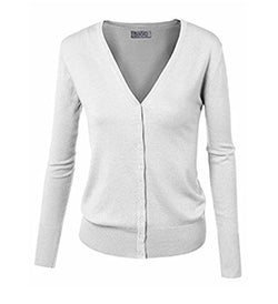 BIADANI Women Button Down Long Sleeve Basic Soft Knit Cardigan Sweater (Medium, Colcl001_white)