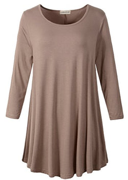 LARACE Women 3/4 Sleeve Tunic Top Loose Fit Flare T-Shirt(1X, Khaki)