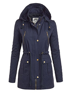 MBJ Womens WJC1046 Quilted Anorack Jacket with Hoodie L NAVY