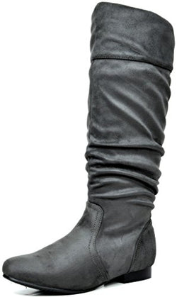 DREAM PAIRS Women's BLVD Grey Knee High Pull On Fall Weather Boots Size 5.5 M US