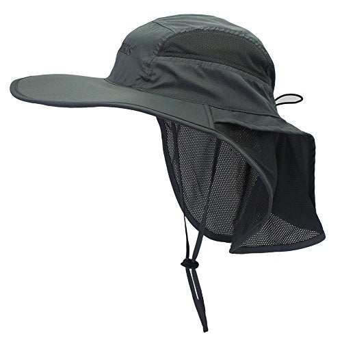 a575727a1d9ec3 ... Lenikis Unisex Outdoor Activities UV Protecting Sun Hats With Neck Flap  Black Grey ...
