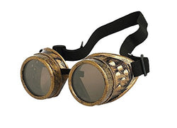 Living New Retro Steampunk Goggles Welding Punk Glasses Cosplay (Brass)