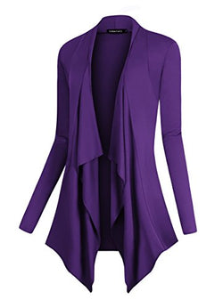 Urban CoCo Women's Drape Front Open Cardigan Long Sleeve Irregular Hem (XL, Purple)