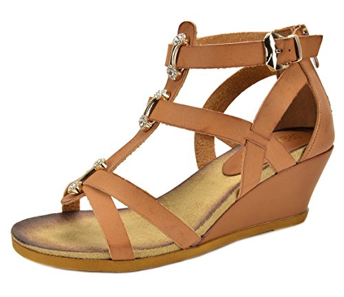 DREAM PAIRS Mulan Womens Gladiator Adjustable Buckles Straps Low Wedge Back Zipper Summer Sandals Camel Size 10
