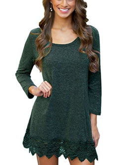 MiYang Women's Long Sleeve A-line Lace Stitching Trim Casual Dress M Green