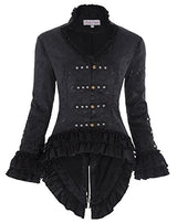 1950s Vintage Ruffles Medieval Coat for Women Silver Studs Black Size M BP223-1