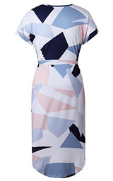 ECOWISH Womens Summer V-Neck Floral Printed Casual Slim Geometric Pattern Dress, White, X-Large