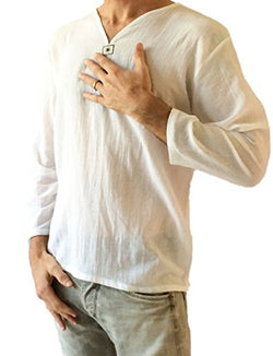 Men's Summer T-Shirt 100% Cotton Thai Hippie Shirt V-Neck Beach Yoga Top (X-Large, White)