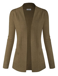 BIADANI Women Classic Soft Long Sleeve Open Front Cardigan Sweater Camel X-Large