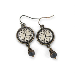 Black and White Steampunk Clock Earrings