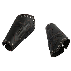 HZMAN Faux Leather Arm Guards - Medieval Cross Bracers - Black - One Size