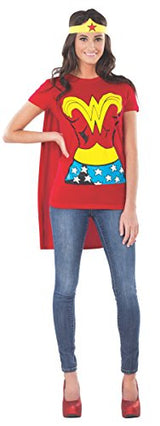 DC Comics Wonder Woman T-Shirt With Cape And Headband, Red, Large Costume