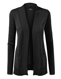 Made By Johnny WSK926 Women Open Front Knit Cardigan L Black
