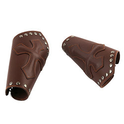HZMAN Faux Leather Arm Guards - Medieval Cross Bracers - Brown - One Size