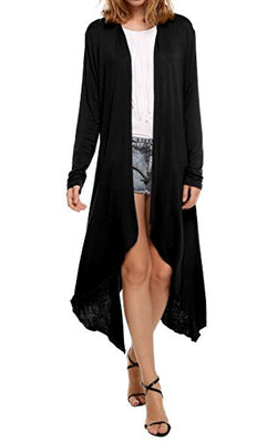 Meaneor Women's Long Sleeve Waterfall Asymmetric Drape Open Long Maxi Cardigan,  X-Large, Black
