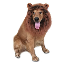 GABOSS Lion Mane Costume, Dog Lion Wig for Dog Pet Festival Party Fancy Hair Dog Clothes (Dark Brown with Ear), Large