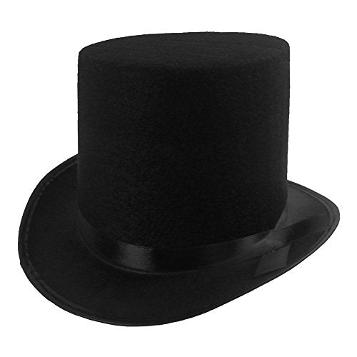 Black Felt Top Magician Costume Hat by Funny Party hats (Black - 1 Pack)