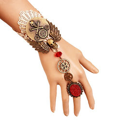 Gothic White Lace Bracelet Steampunk Vampire Slave Flowers Wristband Ring Set Wedding Accessories