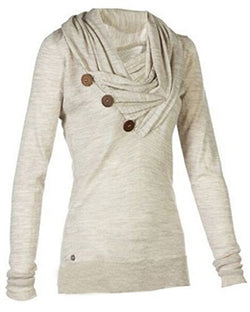 Merryfun Women's Sport Casual Long Sleeve Knitted Draped Button Blouse Top, G L