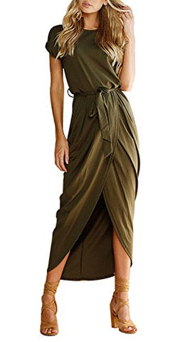 Yidarton Women Ladies Sexy Casual Short Sleeve Beach Party Slit Long Maxi Dress ArmyGreen L
