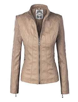 Made By Johnny MBJ WJC877 Womens Panelled Faux Leather Moto Jacket M Khaki