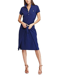 Polo Ralph Lauren Tie-Front Cotton Polo Dress (Freshwater, X-Small)