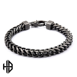Hollis Bahringer Men's Stainless Steel Black IP Gun Metal Polished Finish Fox Tail Link Chain Bracelet