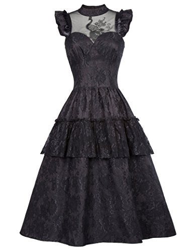Belle Poque Women Girls Steampunk Victorian Edwardian Downton Abbey Midi Dress for Wedding BP380-1 L