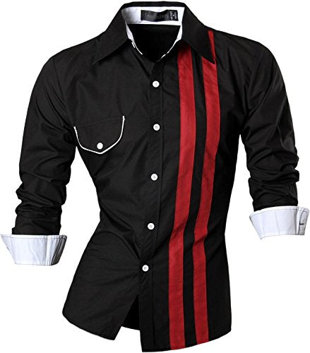 jeansian Men's Slim Fit Long Sleeves Casual Shirts Z021 Black L