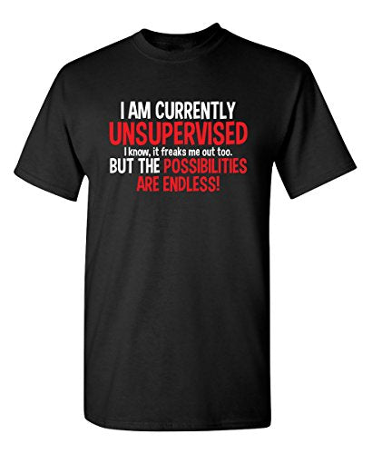 Feelin Good Tees I Am Currently Unsupervised Adult Humor Novelty Graphic Sarcasm Funny T Shirt XL Black1