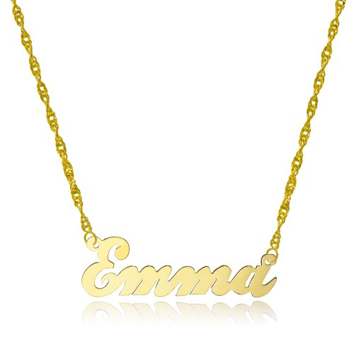 10k Yellow Gold Personalized Name Necklace - Style 4 (16 Inches, Singapore Chain)