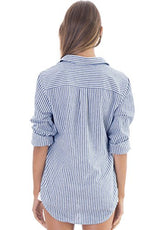 CAMIXA Women's Crushed Linen Casual Button-Down Shirt Start from The Basic XL Navy/White