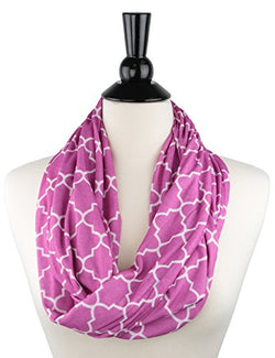 Pop Fashion Womens Pink Infinity Scarf with Zipper Pocket & Pattern Amazon Prime