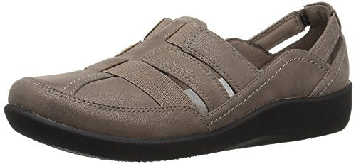 CLARKS Women's Sillian Stork Fisherman Sandal, Pewter Synthetic Nubuck, 8 Medium US
