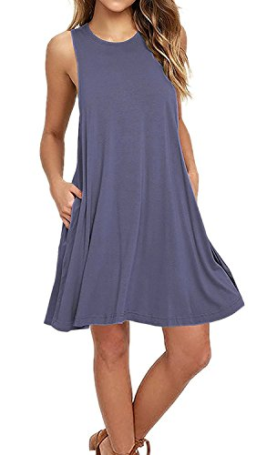 AUSELILY Women's Summer Sleeveless Flowy Tank Tshirt Dress