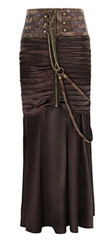 Charmian Women's Steampunk Gothic Victorian Ruffled Satin High Waisted Skirts Brown Small