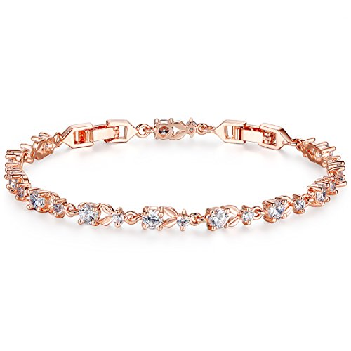 Bamoer Luxury Slender Rose Gold Plated Bracelet with Sparkling 5 Style Cubic Zirconia Stones to Choice
