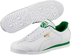 PUMA Roma Classic Sneaker, Puma White-Amazon Green, 10.5 M US