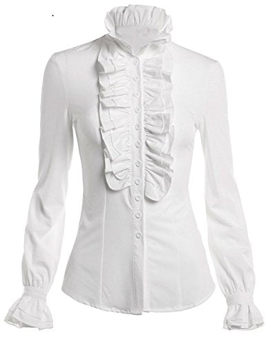 DEARCASE Women Stand-Up Collar Lotus Ruffle Shirts Blouse (Small, White)