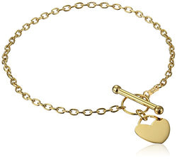 14k Yellow Gold Rolo Heart Tag Link Charm Bracelet, 7.5
