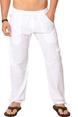 M&B USA Cotton White Cargo Pants Summer Beach Elastic Waistband Casual Pants (Medium, White)