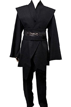 Men TUNIC Hooded Robe Cloak Knight Fancy Cool Cosplay Costume, Black, Small