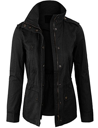 KOGMO Womens Zip up Military Anorak Safari Jacket Coat -3X-Black