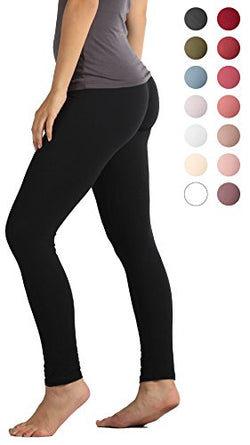 Premium Ultra Soft Leggings High Waist - Regular and Plus Size - 12 Colors (Small/Medium (0-12), Black)