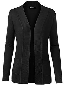 BILY Women Open Front Long Sleeve Classic Knit Cardigan Black Medium